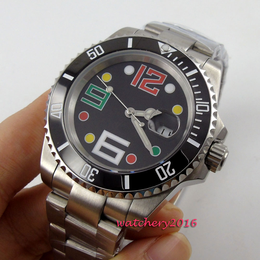 Newest Hot 40mm Bliger Black sterile dial ceramic bezel Date Window Sapphire Glass Luminous Marks Automatic movement Men's Watch