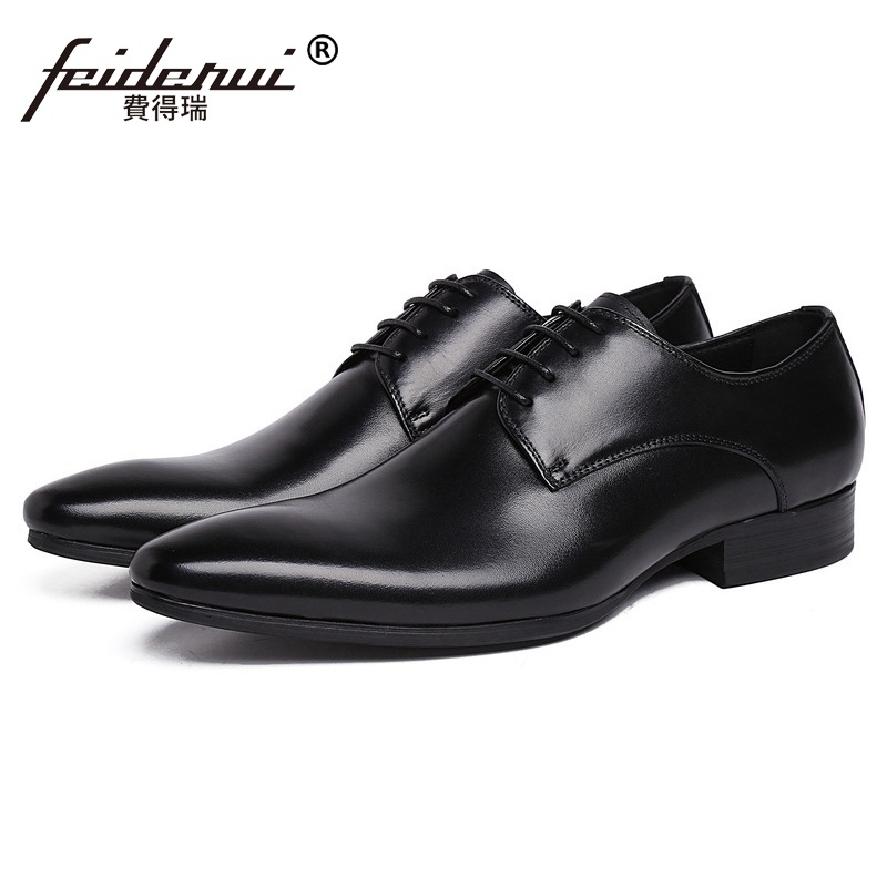 Classic Man Bridal Dress Shoes Genuine Leather Handmade Italian Wedding Oxfords High Quality Pointed Toe Derby Men's Flats BH67 hot sale mens italian style flat shoes genuine leather handmade men casual flats top quality oxford shoes men leather shoes