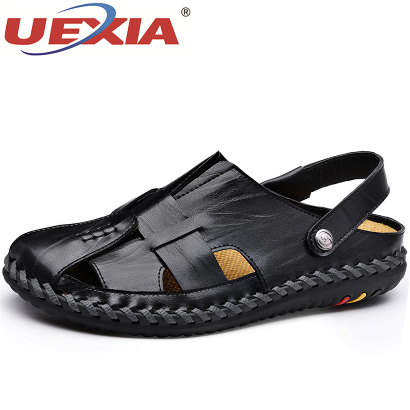 UEXIA Fashion Casual Men Beach Sandals Handmade Leather 2018 New Summer Shoes Retro Sewing Classics Men Footwear Zapatos Hombre