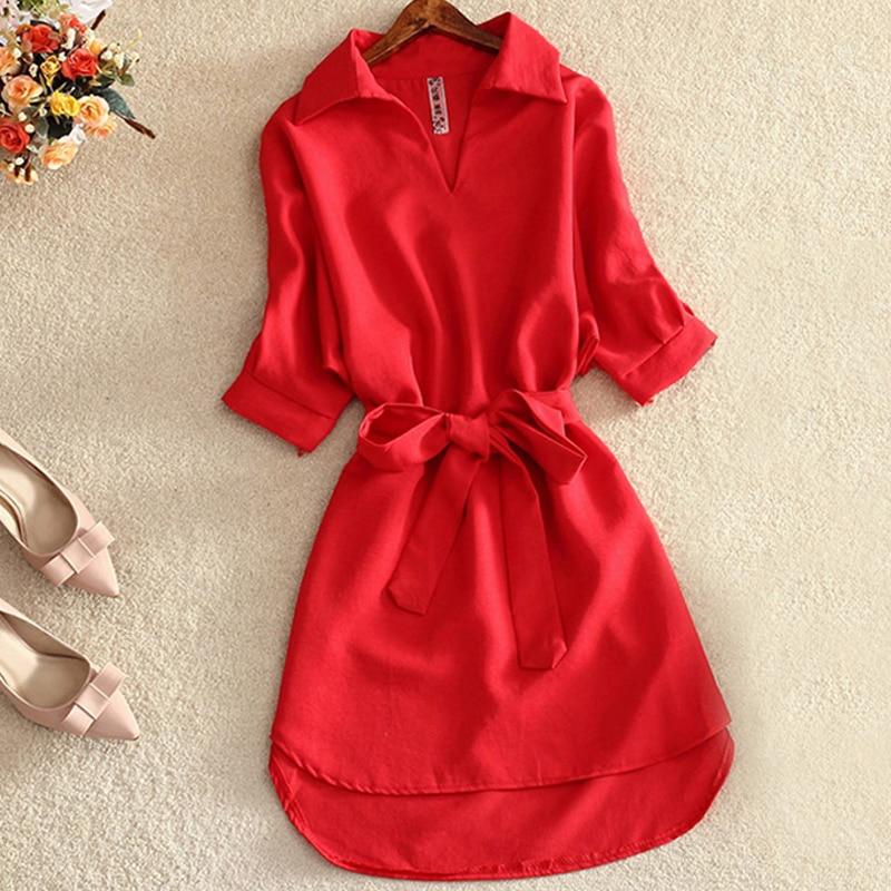 Summer Long Shirt Blouse Women Red Dress Fashion Solid Chiffon Tops For Women Ladies Tunic Blusas Chemisier Vestidos Femme 2020
