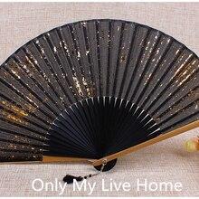 Печатный Золотой пылезащитный серебряный порошок японский вентилятор традиционное ремесло для женщин бамбуковый складной веер из ткани китайский ручной веер