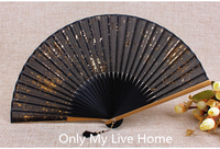 Printed Gold Dust Silver Powder Japanese Fan Traditional Craft Women Bamboo Folding Fabric Fan Chinese Hand