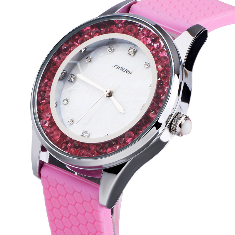 SINOBI Montre Femme 2018 Fashion Womens Crytal Wrist Watches White Watchbands Gifts For The New Year Ladies Geneva Quartz Clocks