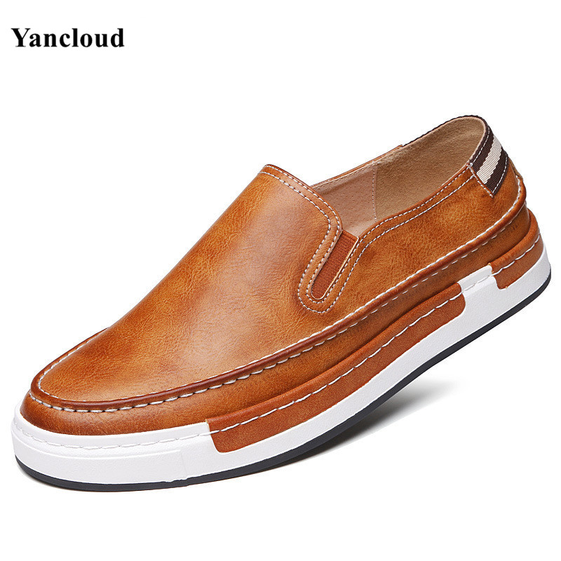 Yancloud New 2017 Spring Summer Flats Men's Loafers Breathable Slip on Men Casual Leather Shoes Driving Moccasins 2017 new fashion summer spring men driving shoes loafers real leather boat shoes breathable male casual flats