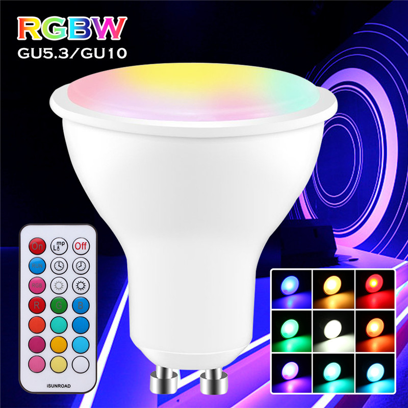 GU10/GU53 Dimmable Led Bulb 3W 5730 SMD RGB+White Dimmable Light with Remote Control AC85-265V