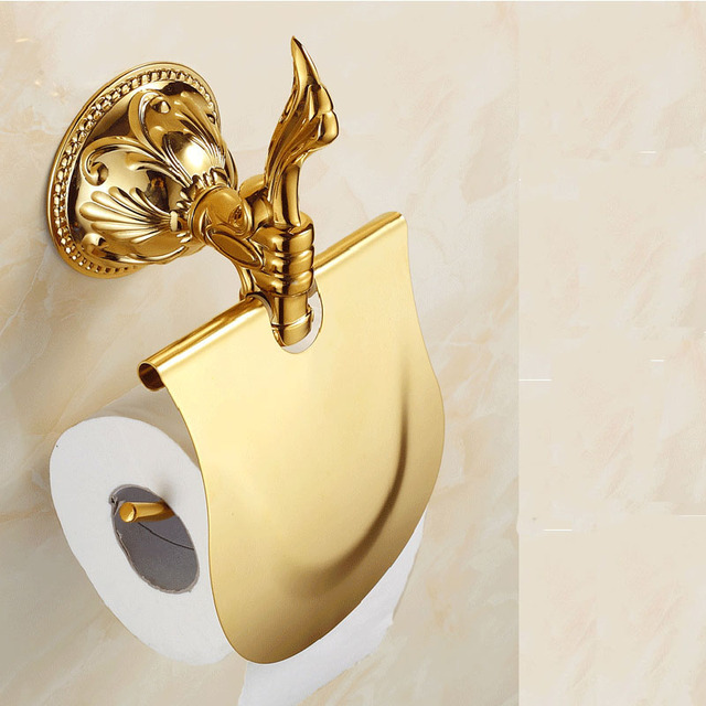 Wholesale and Retail Wall Mounted Bathroom Paper Holders Gold-plated Bathroom Accessories Toilet Paper Holder & Wholesale and Retail Wall Mounted Bathroom Paper Holders Gold plated ...