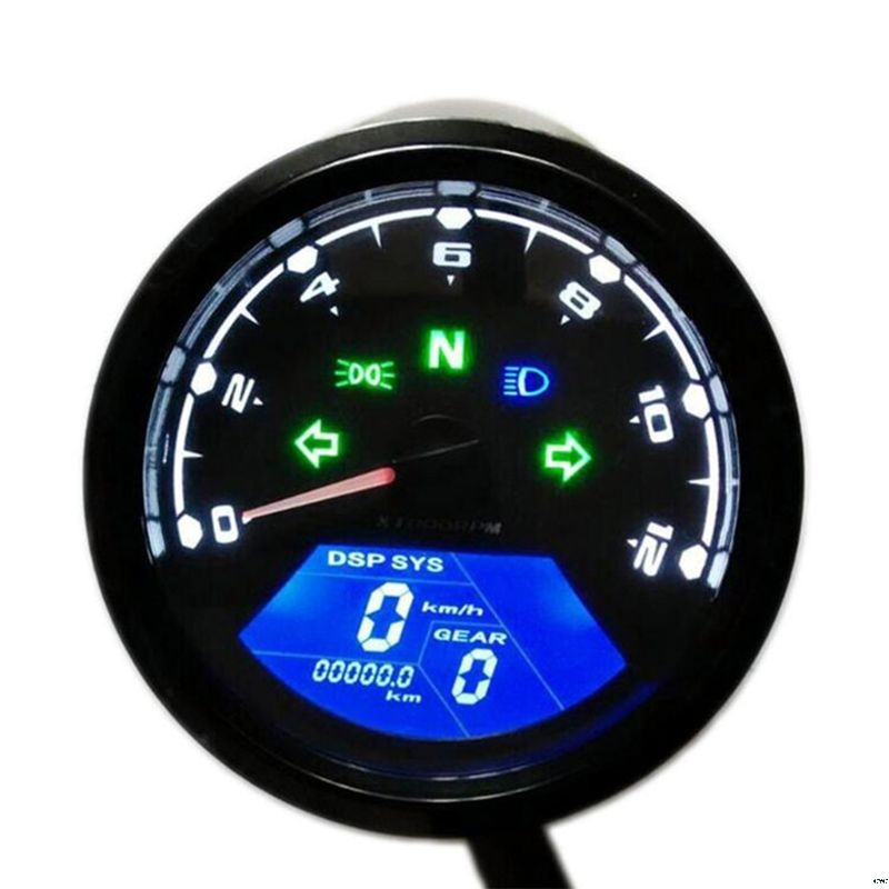 Universal Digital Motorcycle LCD Screen Speedometer Odometer Techometer Gauge Dual Speed image