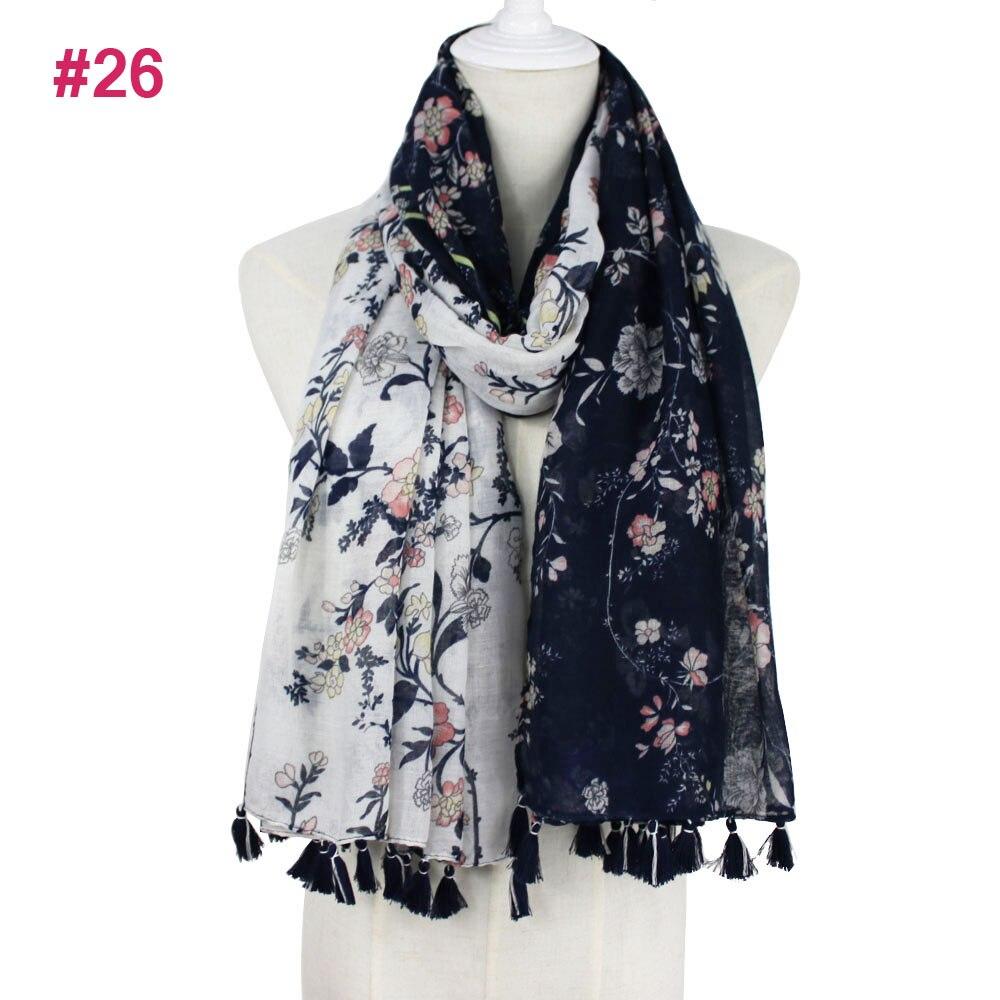 Women Elegant Fashion Spring Soft comfortable big size Flower Printed cotton voile ladies tassel   scarf   2018