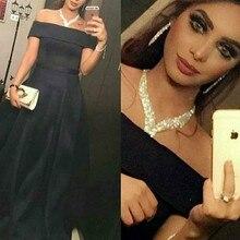 Black Satin Muslim Hijab Evening Dresses Long Party Dress 2017
