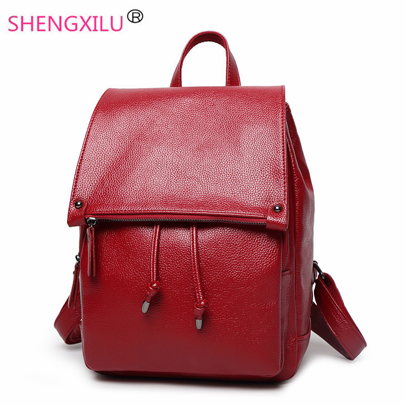 Shengxilu leather women backpacks fashion trend preppy style female backpack casual travel girls bags brand red