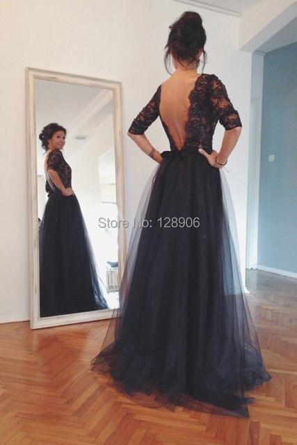 9f249d9529 Elegancki granatowy sukienka 2015 z pół rękawy zroszony aplikacje koronki  balu partyjna suknia backless długa elegancka