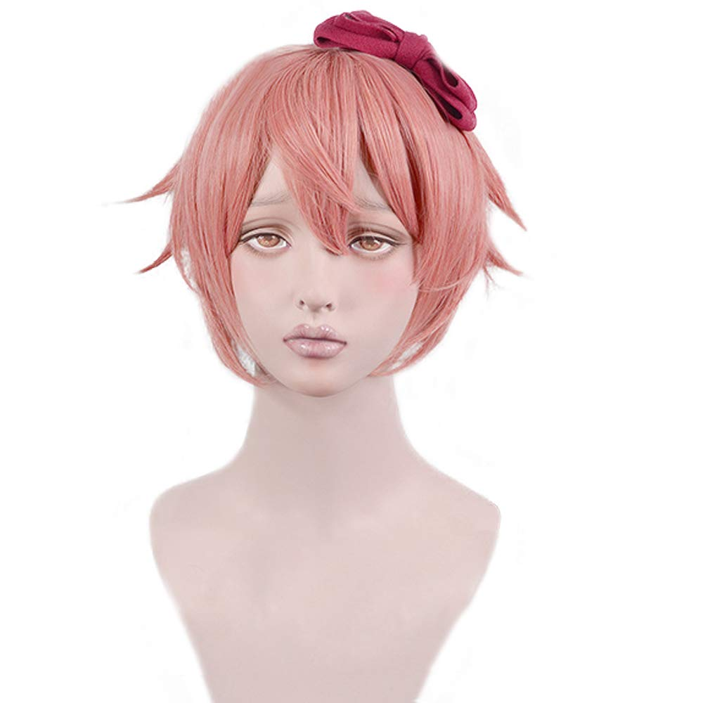 Doki Doki Literature Club DDLC Sayori Short Peach Pink Cos Wig Heat Resistant Hair Cosplay Hair Wigs With Bow Hairpin