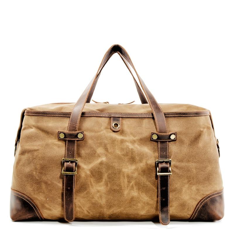 Travel Overnight Luggage Bag Waterproof Canvas Duffel Weekend Carry on Bag Brown