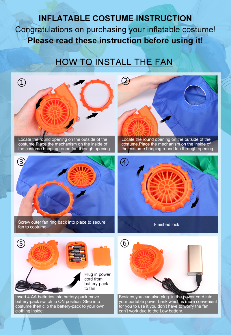 Inflatable Costume Halloween Party Fancy Diagrams For The Most Common Methods Of Installing Fantasia Fans 1