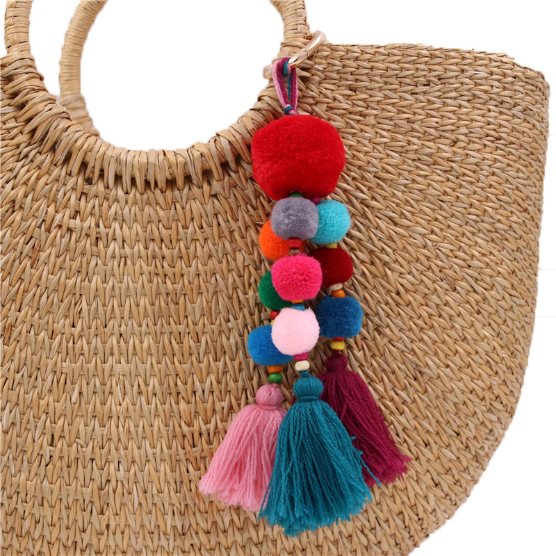 Boho Women Colorful Tassel Key Chain Handbag Accessories Car Keyring Purse Decor Luggage & Bags
