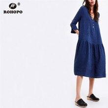 ROHOPO Navy Blue Autumn Cotton Linen Dress Three Quarter Sleeve Top Buttons Female Midi Solid Pleated Maxi Vestido #CW9026