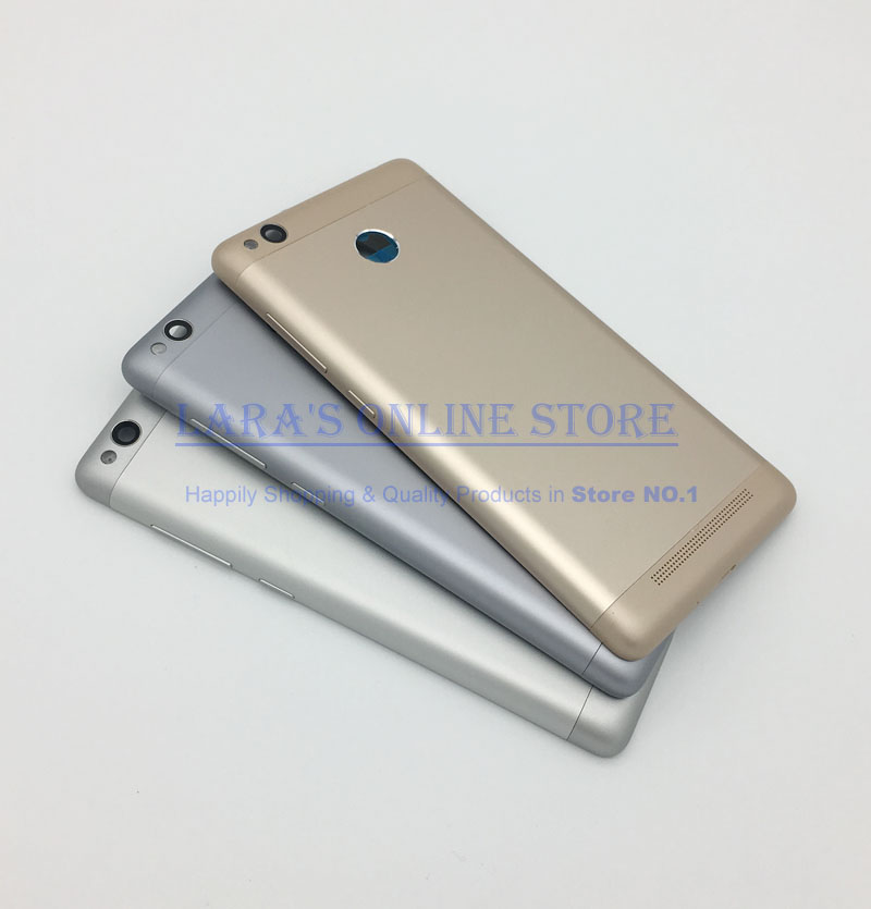 for Xiaomi <font><b>Redmi</b></font> <font><b>3S</b></font> /<font><b>Redmi</b></font> 3 Pro Back <font><b>Battery</b></font> Door <font><b>Cover</b></font> Housing + Camera Glass Lens + Power Volume Button Replacement Parts image