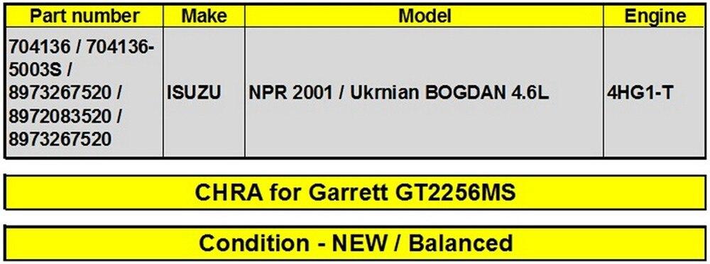 Сбалансированный Турбонагнетатель картридж GT2256MS турбо ядро КЗПЧ 704136 704136-5003S для Isuzu NPR UKmain Богдан 4.6L 4HG1T 4HG1-T