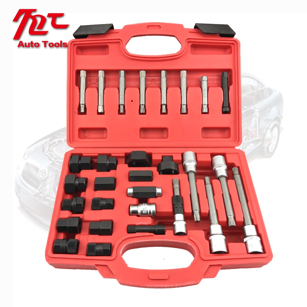 30pcs Alternator Freewheel Pulley Puller Alternators Tool Set Special Socket Set