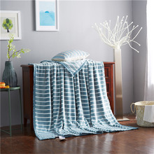 Comfortable soft and dark green striped pattern adult / children blanket Super soft warm coral blanket in bed / sofa lattice