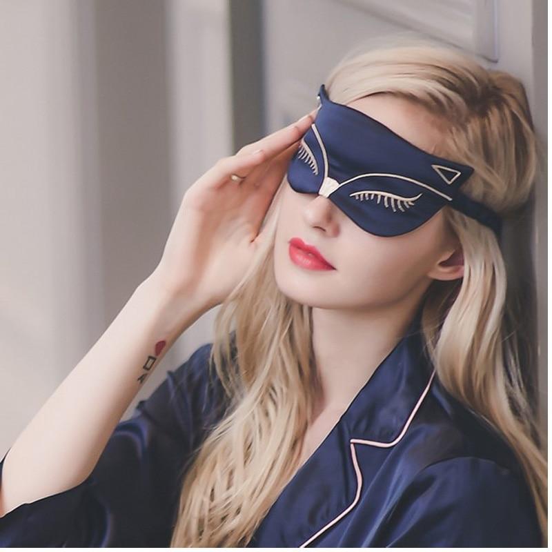 Åndbar Silke Eyeshade Cartoon Sød Fox Bomuld Øjen Cover Kvinder Soveøje Mask Soft Komfortabel Broderi Briller Hovedbeklædning