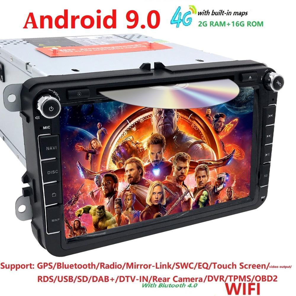 2G 2din 8''android 9 dvd de voiture pour V W passat b6 golf 4 5 tiguan polo skoda octavia avec commande au volant autoradio gps WIFI