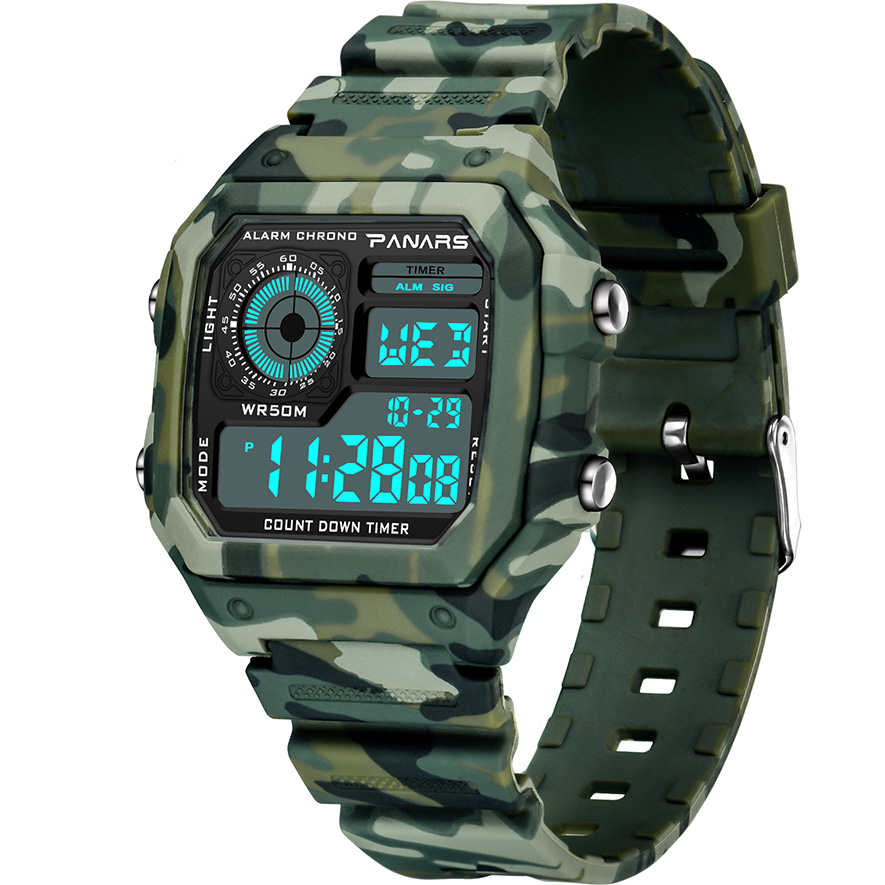 PANARS Camouflage Military Watch Men Waterproof Dual Time Display Mens Sport Wristwatch Digital Analog Quartz Watches Male Clock