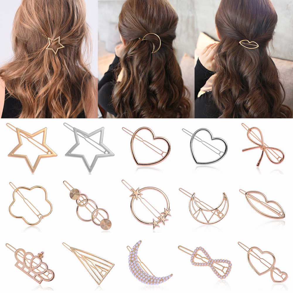 1PC 2019 New Fashion Woman Triangle Hair Clip Pin Metal Geometric Alloy Moon Circle Hairgrip Barrette Girls Hair Styling Tool