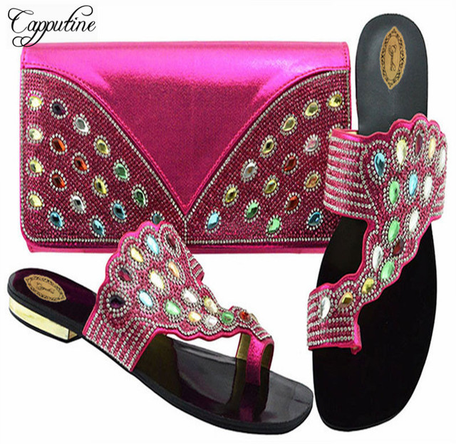 Capputine Latest African Matching Shoes And Bags Italian In Women Nigerian  Low Heels Party Shoes And Purse Sets For Party aa8aa23e7009