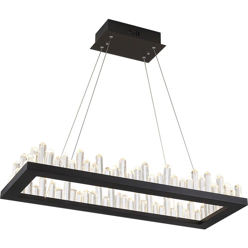 Прямоугольник современный дизайн светодио дный люстры хрустальные AC110V 220 В блеск столовая гостиная kronleuchter