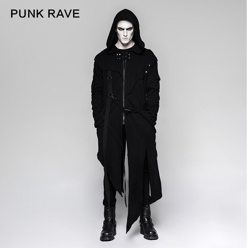 Nouveau hommes Punk Rave noir foncé Rock gothique Punk style de rue lâche veste à capuche, manches amovible Y745
