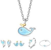 Children Kids Cute Birthday Gift Solid 925 Jewelry Sets Trendy Lovely Dolphin Sea Blue Color Pendant Bracelet Earrings Sets
