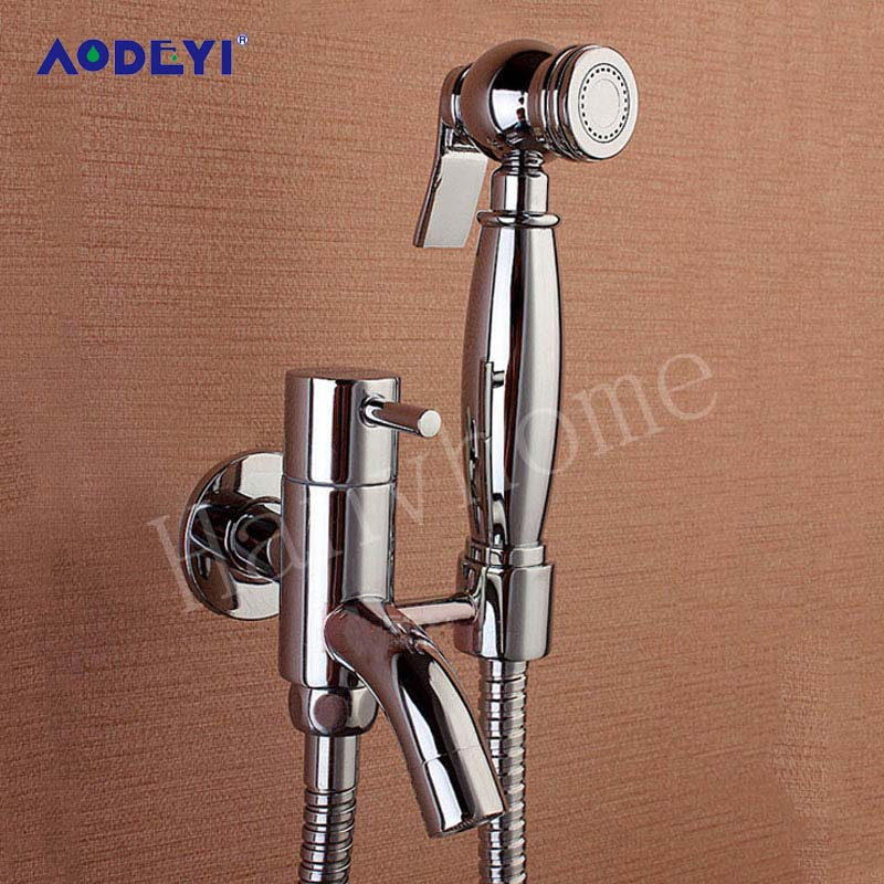 AODEYI Hand Held Bidet Douche Spray Shower Head G1/2 Brass Valve Tap With Holder Bidet Sprayer Bathroom Set Hand Shower Head hand bidet spray bathroom thermostatic mixer valve handheld shower bidet sprayer douche kit set ducha higienica