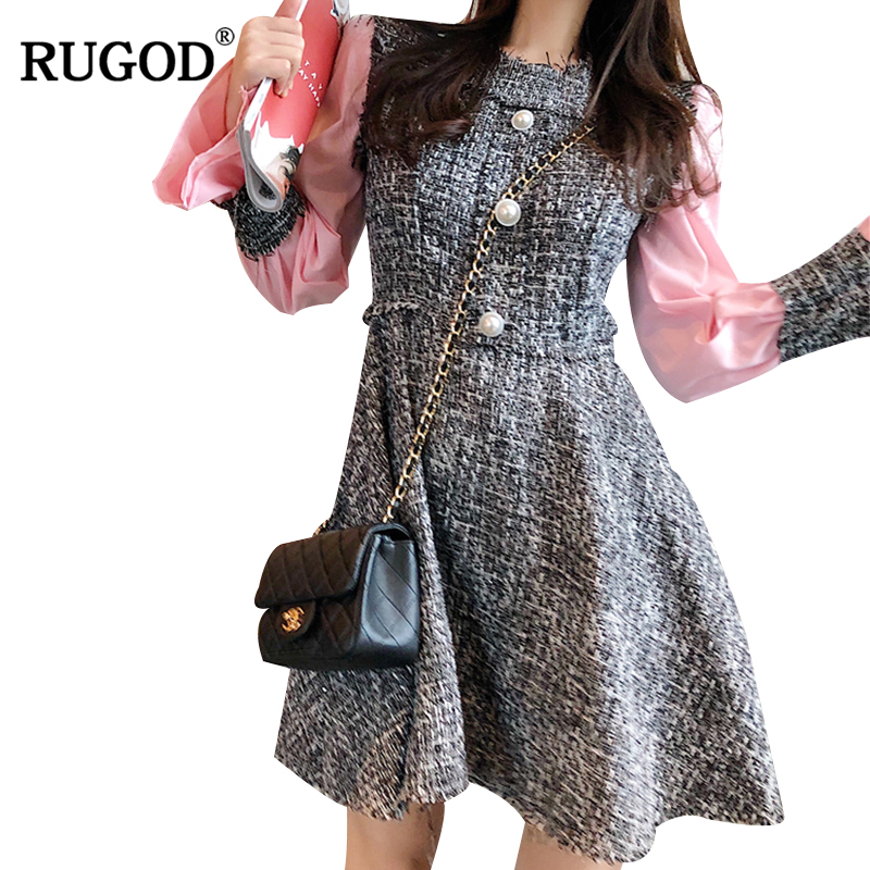 RUGOD 2019 New Women Dress Patchwork Long Sleeve Autumn Dress O-Neck Women Midi Dress Elegant Dress vestidos mujer