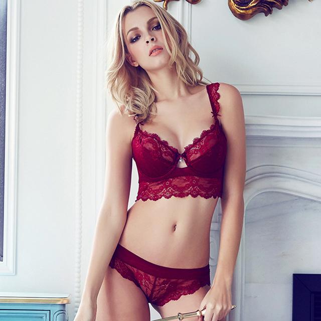 Ultra-thin Underwear Set Transparent Lace Bra Set