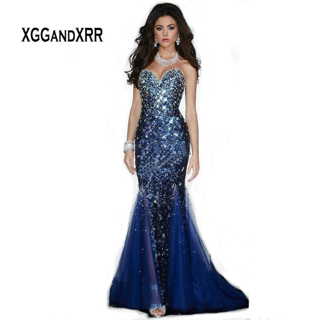 8f2a950e71 G615 Open Back Mermaid Prom Dress Sexy Sweetheart Rhinestones Beaded Blue Formal  Women Pageant Special Occasion