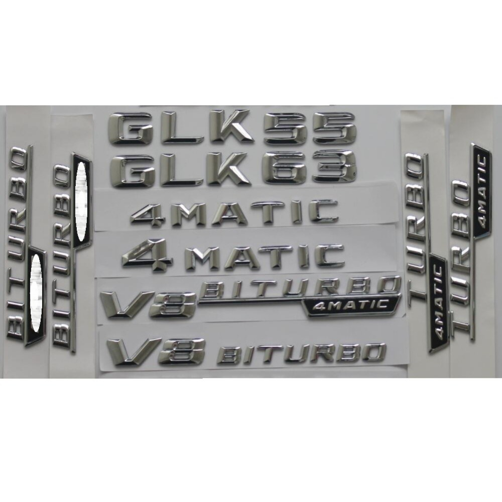 Chrome Shiny Silver Car Trunk Rear Number Letters Words Badge Emblem Emblems Sticker for Mercedes Benz GLK55 GLK63 AMG 4MATIC in Emblems from Automobiles Motorcycles