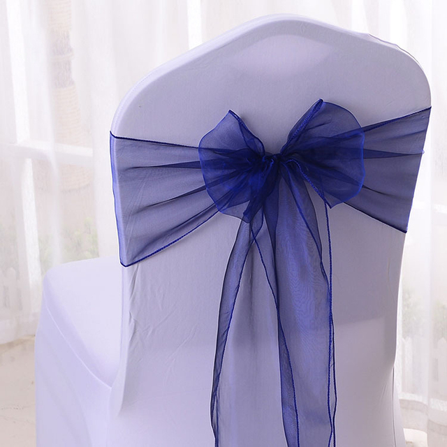 100pcs Navy Blue Wedding Chair Cover Ties Crystal Organza Bow Sashes For Party Event Banquet Decoration