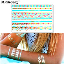 M-theory Gold Metallic Temporary Tattoos Body Arts Blue Stripes Flash Tatoos Sticker 21x15cm Dress Bikini Swimsuit Makeup