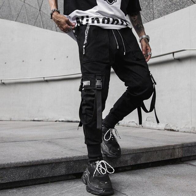 2020 Primavera Hip Hop Jogging Uomo Nero Pantaloni stile harem Multi-tasca Nastri Uomo Pantaloni Della Tuta Streetwear casual Mens Pantaloni M-3XL 2