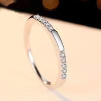 Wedding Ring Band for Fiancee Simple Design Shiny Cubic Zirconia Hearts and Arrows Cut Ring Real 925 Sterling Silver Jewelry