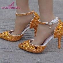 cc082bdd0 Plus Size Sapatos de Casamento Strass Ouro Sandálias de Verão Sapatos de  Cristal Vestido De Noiva