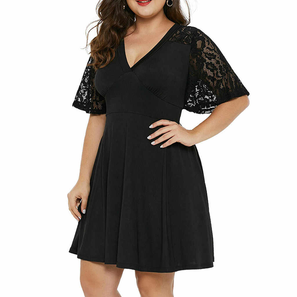 Plus Size dress summer women for beach Solid V-Neck summer clothes for women Short Sleeve Lace A-Line Swing sundress female#G6