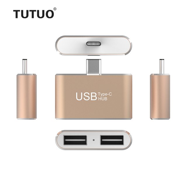 Tutuo Super Speed Type C to 2 Port USB HUB 2.0 Portable OTG HUB USB Splitter with LED for Apple Macbook Air Laptop PC Tablet