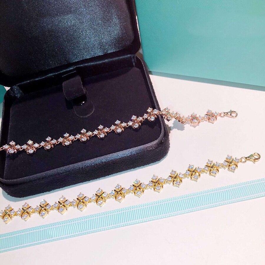 Moda Hot marka bransoletka CZDiamond luksusowe czysta 925 Sterling Silver biżuteria dla kobiet ślub impreza codzienny wysokiej jakości Bijoux w Bransoletki od Biżuteria i akcesoria na  Grupa 1
