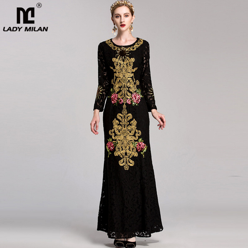 New Arrival 2018 Womens O Neck Long Sleeves Embroidery Lace Beaded Elegant Prom Maxi Mermaid Runway Dresses