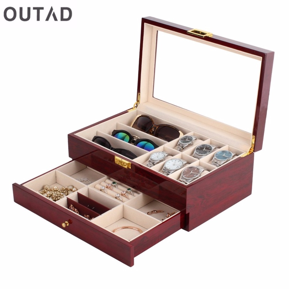 Outad casket wood watch box double layers suede inside for Big box jewelry stores
