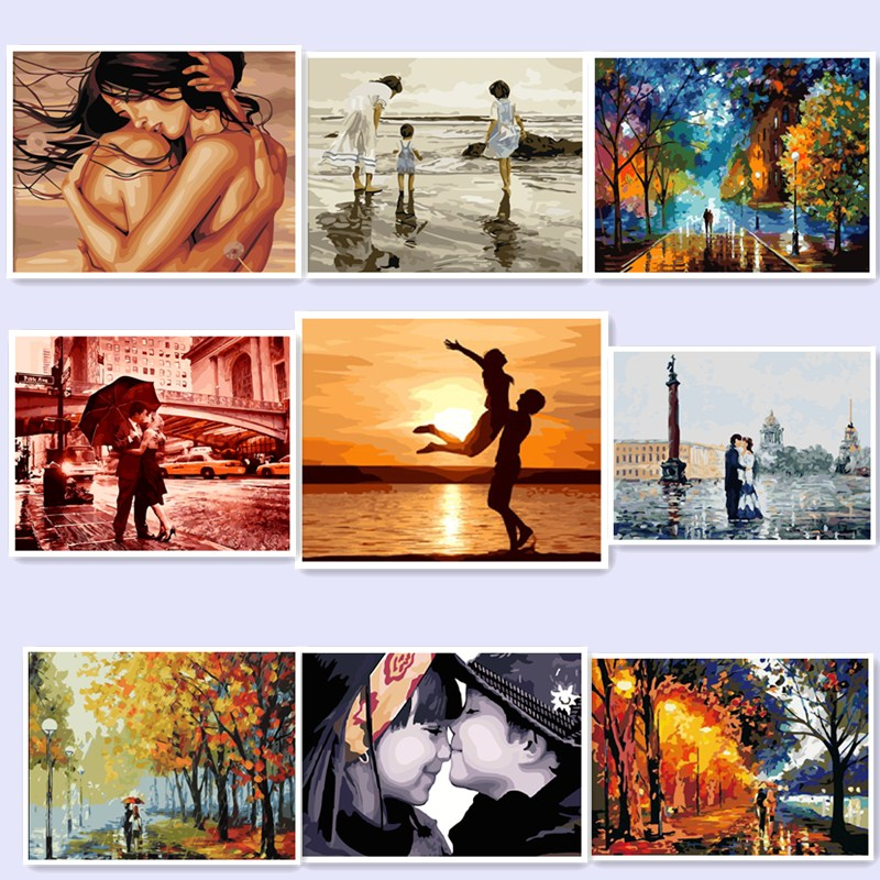 Frameless dancer diy painting by numbers paint on canvas for Diy frameless picture frames