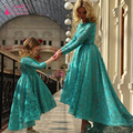 Long sleeve elegant Lace evening dresses turquoise hi-Lo Prom Dress african formal dresses turkish mother-child outfit gown Z330