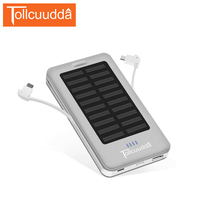 Tollcuudda Pour Xiaomi Iphone 10000 mAh Solaire Chargeur Batterie Power Bank Powerbank Externe Portable Poverbank 3 Sortie LED Mi